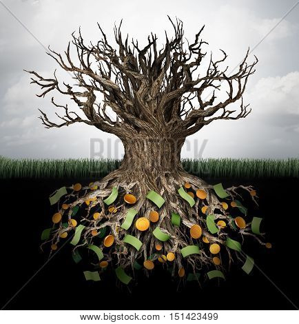 Hiding money and secret wealth business concept as an empty tree with currency and gold hiden in the underground roots as a financial metaphor to protect capital or avoid income tax with 3D illustration elements.