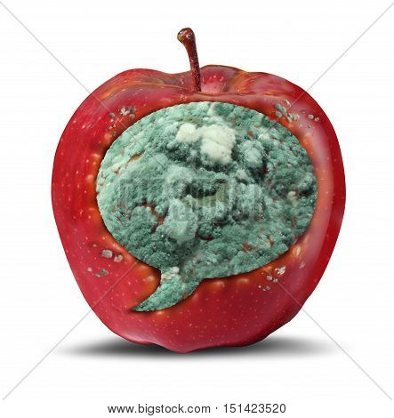 Hate speech symbol and risky hateful xenophobia communication icon as a rotting apple with spreading mold shaped as a word bubble as a concept for bigotry in a 3D illustration style.