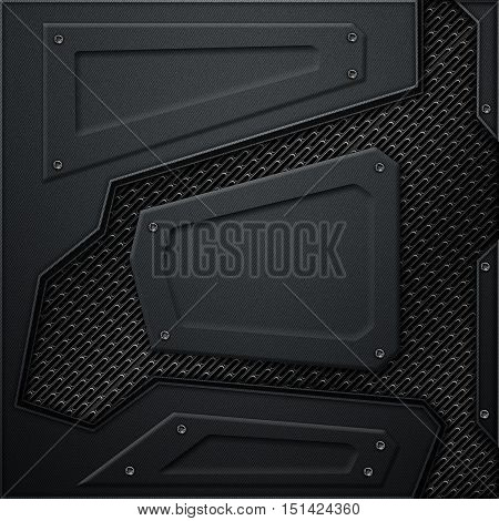 Scifi Wall. Black Carbon Fiber Wall And Black Mesh. Metal Background
