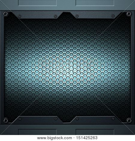 Scifi Wall. Carbon Fiberl Wall And Rivet. Metal Background And Texture.