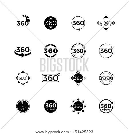 360 degrees angle view, rotate vector icons set. Rotate and turn panorama illustration
