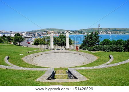 SWANAGE, UNITED KINGDOM - JULY 19, 2016 - Contemporary mock Roman ampitheatre with views of the town and sea to the rear Swanage Dorset England UK Western Europe, July 19, 2016.