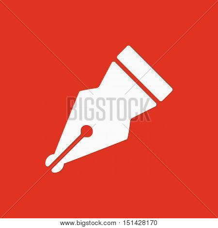 The pen icon. Fountain Pen symbol. Flat Vector illustration