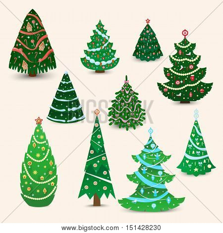 Christmas tree vector ornament star xmas gift design. Holiday celebration winter christmas tree. Vector ball season decorative shiny christmas tree, festive pine bright card symbol.