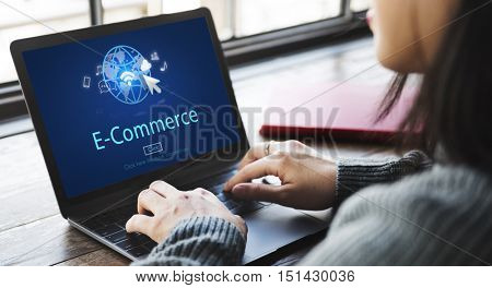 E-Commerce Digital Marketing Global Business Online Technology Concept