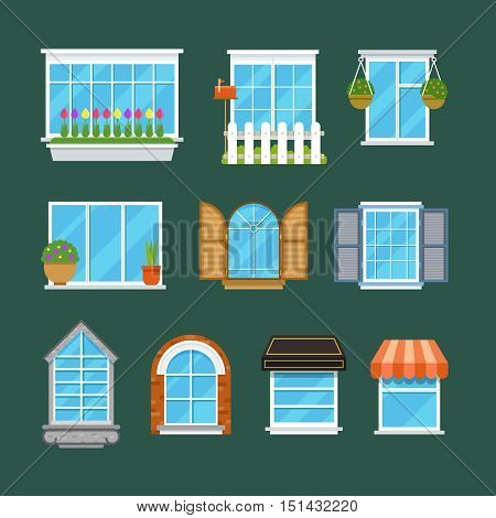 Windows with window sills curtains flowers balconies flat vector set. Variety plastic architectural windows illustration