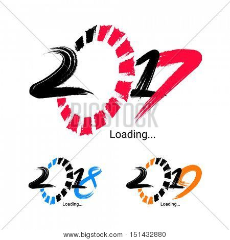 Creative hand drawn text design of 2017, 2018 and 2019 on white background, Vector illustration for Happy New Year celebration.