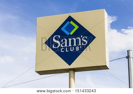 Kokomo - Circa October 2016: Sam's Club Warehouse Logo and Signage. Sam's Club is a chain of membership only stores owned by Walmart I
