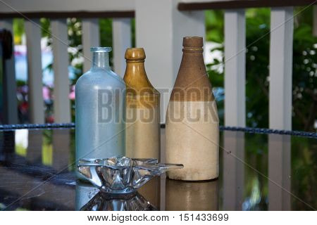 a photo of a nice decoration with bootles