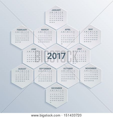 Hexagonal Calendar for 2017 Year on paper background. Week starts from sunday. Modern Creative Vector Design Print Template. Holiday vector illustration. Corporate business layout.