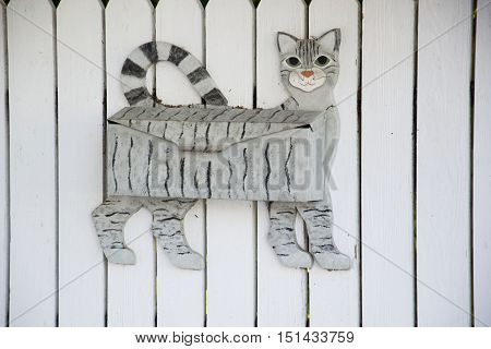 a mailbox which looks like a cat