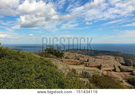 View of the coast of Maine, from Cadillac Mountain in Acadia National Park