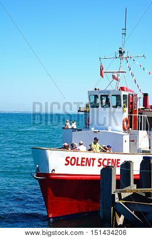 SWANAGE, UNITED KINGDOM - JULY 19, 2016 - Solent Scene ship with tourists moored along the jetty Swanage Dorset England UK Western Europe, July 19, 2016.