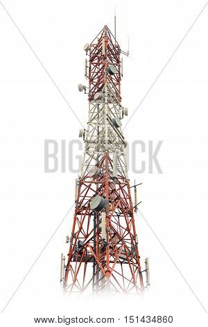 red and white gsm tower on white background