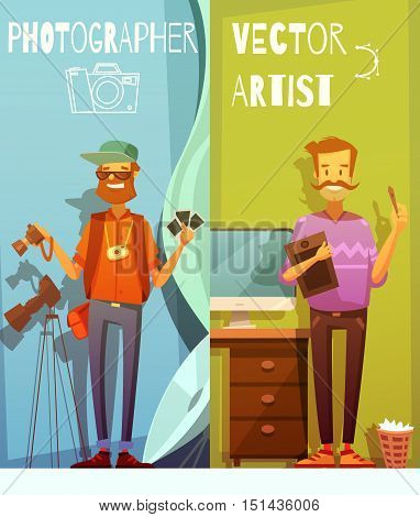 Two vertical cartoon banners with funny photographer and artist standing near equipment for their creative work flat vector illustration