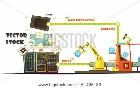 Microstock business owner working concept schema retro cartoon style with investment and sales analysis banner vector illustration