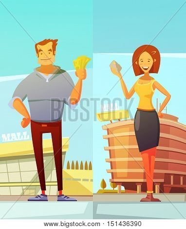 Funny cartoon buyers two vertical banners with man and woman standing at mall background and holding money in their hands flat vector illustration