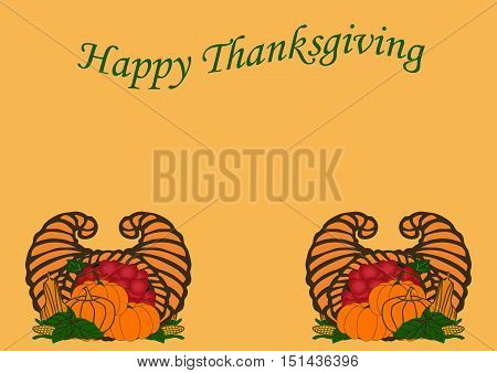 Happy Thanksgiving Greeting with Harvest Produce on Orange 01
