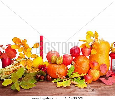 Composition of fruits and vegetables on Thanksgiving with copy space isolated