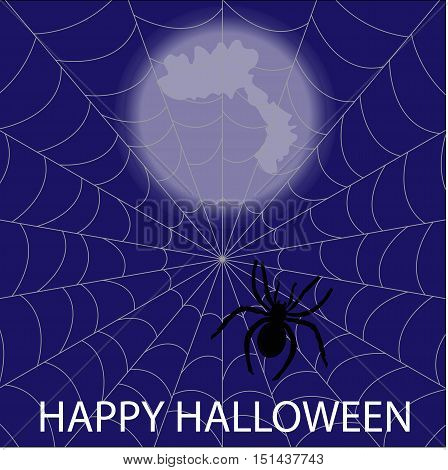 the spider in the web of night. Happy Halloween Poster. template greeting or invitation. Halloween vector illustration