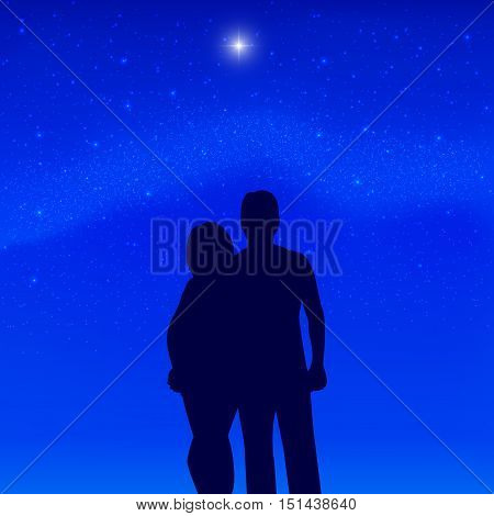 Vector illustration silhouette of a couple in love on the background Milky Way and North Star. Boy and girl standing together in an embrace. Romantic evening night men and women.