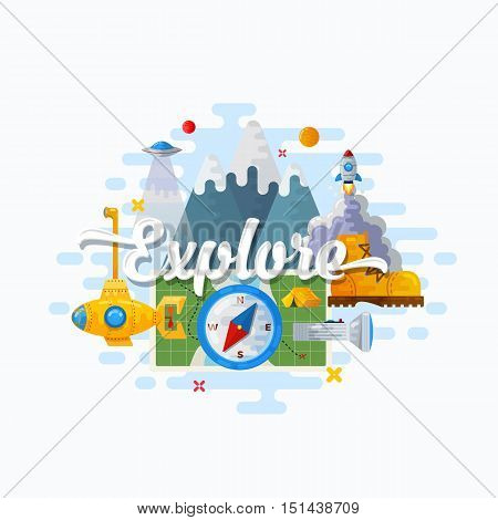 Explore Abstract Vector Flat Style Modern Illustration. Discovery, Science, Education and Outdoor Icons Concept. Good Header or Banner for Your Website. Isolated.