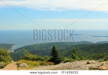 Scenic view of the coast of Maine taken from Cadillac Mountain in Acadia National Park .