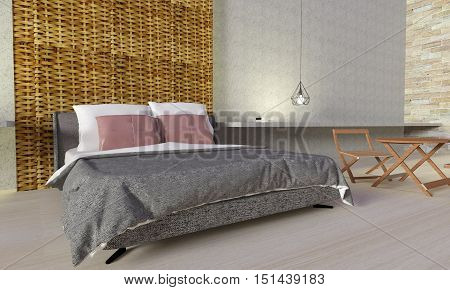 Modern bedroom interior with loft style-3d rendering.