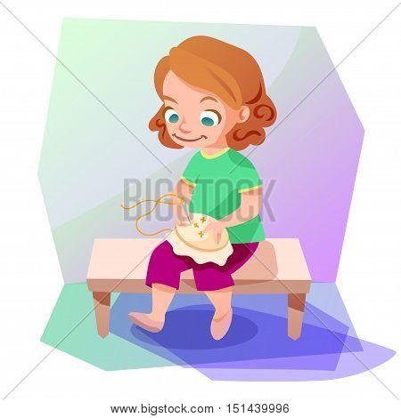 Cute little girl doing a cross stitiching. Kids hobby cartoon illustration.