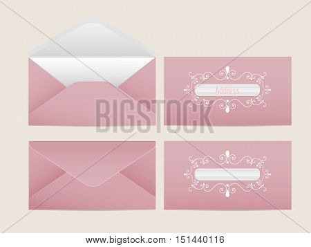 Vector mail envelope. Blank paper envelopes for your design. Vector envelopes template.