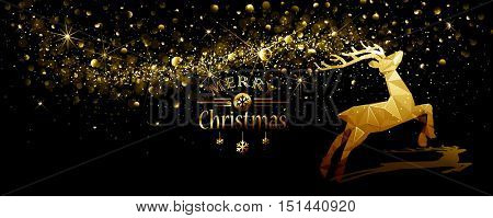 Christmas illustration with silhouette gold deer low poly and flickering lights. Vector