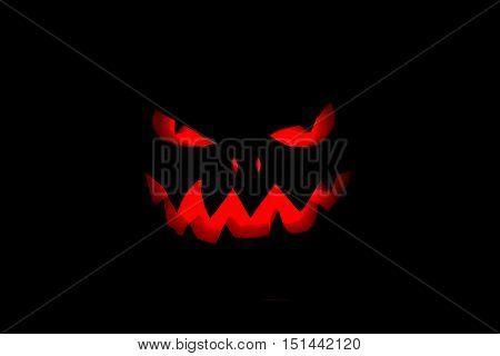 halloween pumpkin jack head lantern on black background