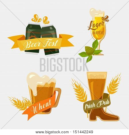 Metal beer cans and glassware mugs with foam. Alcohol beverage with ribbons for german beer festival logo or irish pub banner, english bar badge or restaurant emblem