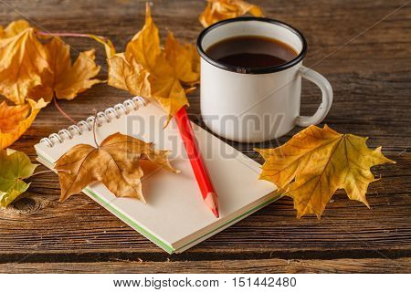 Writing-books, Multi-coloured Pencils In A Cup And Autumn Leaves On A Woden Background.