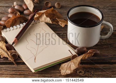 Pencil On The Empty Vintage Paper, Autumn Leaves On Wooden Table. Back To School Concept: Paper, Pen