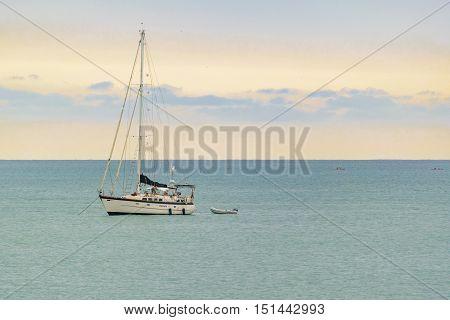 SALINAS, ECUADOR, OCTOBER - 2015 - Small recreation boat at ocean in Salinas Ecuador