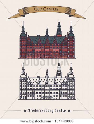 Denmark Frederiksborg old medieval castle. Danish or scandinavia Museum of national history building architecture facade view with text on ribbon. May be used for history or stronghold theme