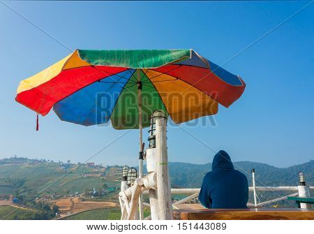 Alone Tourist Sit On Viewpoint Of Phu Thap Boek --- Tourist Attraction In Petchabun Thailand