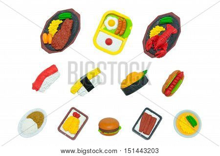 American And Japanese Food Rubber-Toy Isolated On White