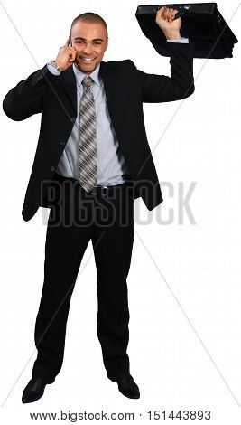 Businessman Talking on Phone abd Holding Briefcase - Isolated