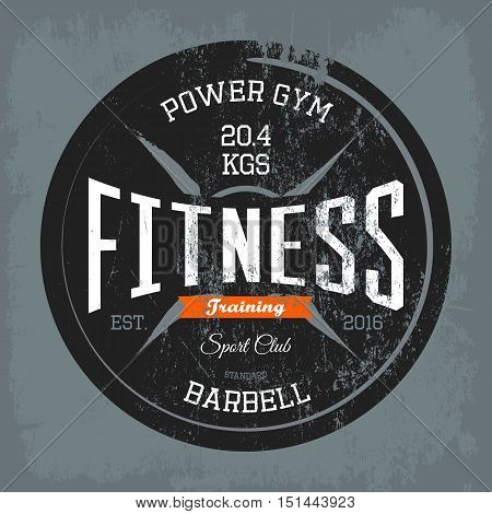 Gym or gymnasium or fitness training print on t-shirt. Sportswear gymnasium logo or athletic health club or fitness center or centre banner. May be used for body care or physical, sportswear emblem