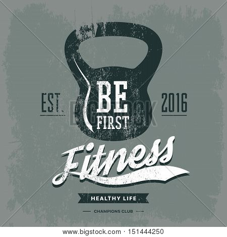 Weight or poise, rod print for t-shirt or sportswear gear. Fitness center logotype or gym, gymnasium banner, training logo and workout banner as activity centre advertising