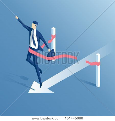 businessman crosses the finish line or the red ribbon isometric employee wins business concept success and victory