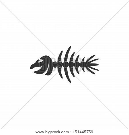 Fish bone Icon isolated on a white background. Fish bone Logo design vector template. Simple Logotype concept icon. Symbol, sign, pictogram, illustration - stock vector