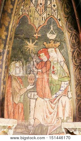 Medieval Fresco In The Old Cathedral Of Salamanca, Spain