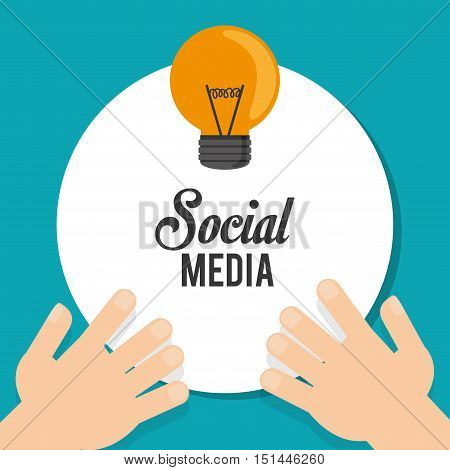 Light bulb and hands icon. Social media multimedia communcation and digital marketing theme. Colorful design. Vector illustration poster
