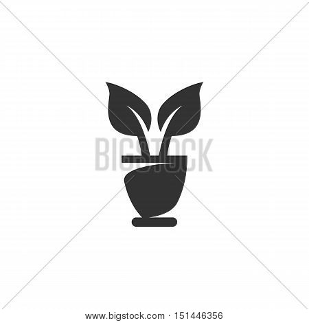 Flowerpot Icon isolated on a white background. Flowerpot Logo design vector template. Simple Logotype concept icon. Symbol, sign, pictogram, illustration - stock vector