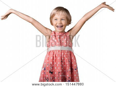 Portrait of an Overjoyed Little Girl with Arms Open