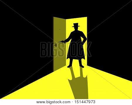 Armed man standing in the doorway. Man with gun in an open door. Light from the open door. Vector illustration.