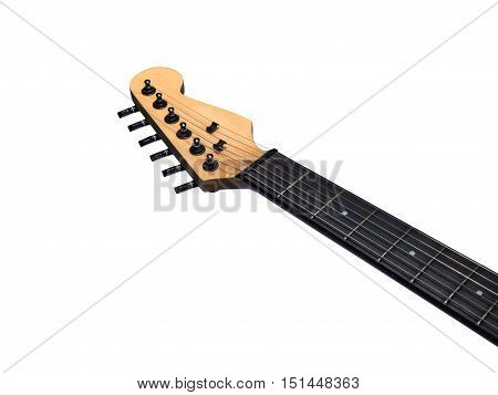 head of the electric guitar on white background